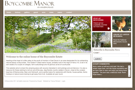 Boycome Manor in Devon Drupal Site